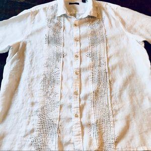 Tasso Elba Linen Mens Tropical Vacation, Shirt
